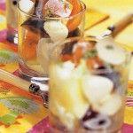 Фруктовый салат с сыром Моцарелла Для приготовления блюда Фруктовый салат с сыром Моцарелла необходимы следующие ингредиенты на 4 порции: два больших персика, 2 груши, два абрикоса, 2 сливы (можно взять консервированные фрукты), 150 гр маленьких шариков сыра Моцарелла, 150 гр йогурта простого, 1 чайная ложка сахара, соль на пробу.