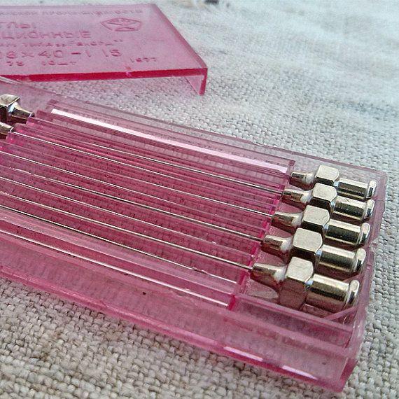Set of 10 Vintage medical needles for syringe in box, plastic box, medical tool, medical oddity, vintage medicine, medicine, hospital clinic