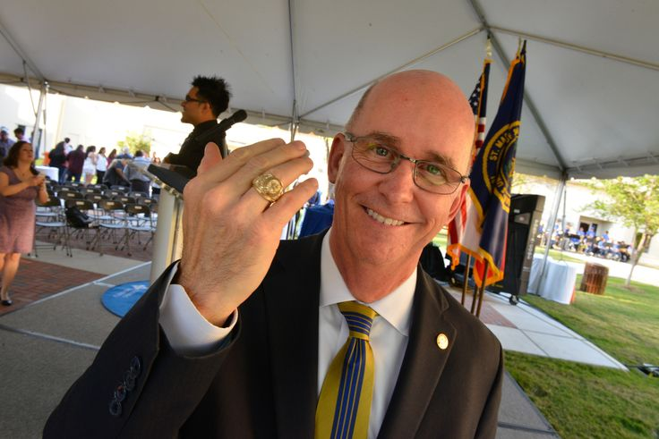 President Mengler was proud to receive his Rattler Ring at the University's second-ever class ring ceremony.