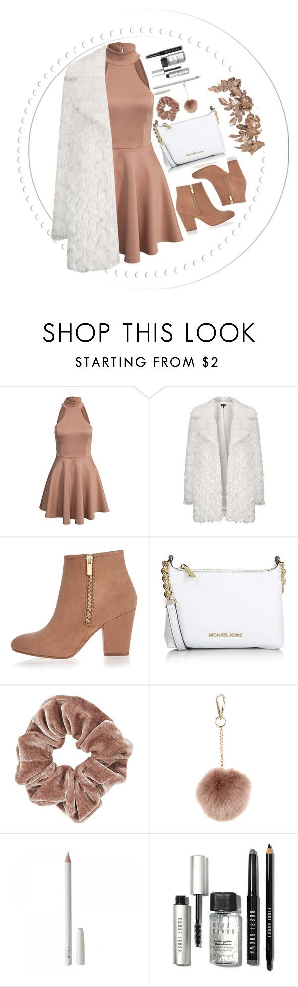 """""""little brown"""" by jfgs ❤ liked on Polyvore featuring Topshop, River Island, Michael Kors, Accessorize and Bobbi Brown Cosmetics"""