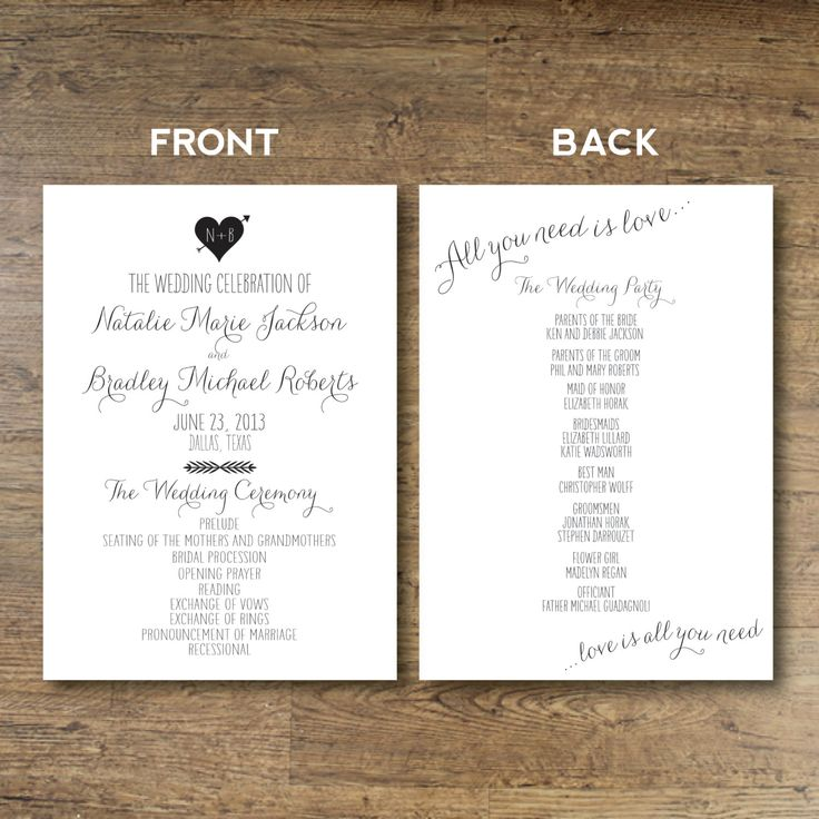 funny wedding invitation rsvp goes viral%0A Printable Wedding Program All You Need Is Love by OhDarlingPaper