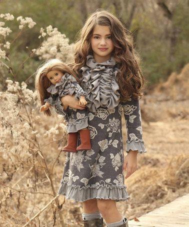 Look at this #zulilyfind! Gray Floral Sophia Dress & Doll Dress - Girls by Lilli Lovebird #zulilyfinds