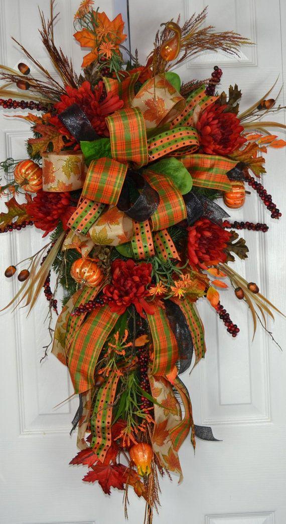 Autumn Fall Splendor Swag Autumn Wreath by GaslightFloralDesign