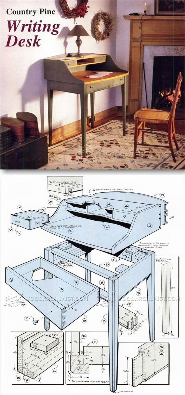 Writing Desk Plans - Furniture Plans and Projects | WoodArchivist.com #furnitureplans