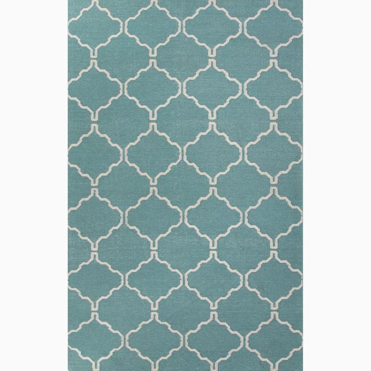 Hand Made Moroccan Pattern Blue Ivory Wool Rug 8x10