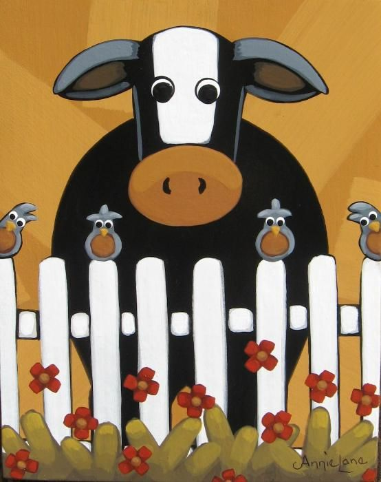 """ PICKET FENCES "" Whimsical Country Cow Painting, Art by Annie Lane Folk Art"