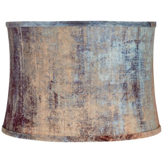 Velvet Blue Embossed Drum Lamp Shade 15x16x11 (Spider) - Style # 12C18