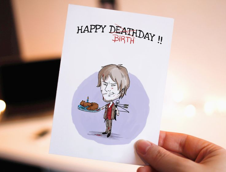 10%OFF Funny Happy birthday- Birthday Card, Printable Birthday Card, Walking Dead, Daryl,  Cute Birthday Card, Birthday Cards, Zombie, Cake by WadaDesigns on Etsy