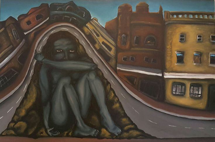 Acrylic painting surrealism man in a landscape hiding Dannika