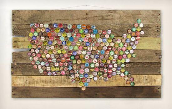 bottle cap crafts | bottle cap crafts / vintage bottle caps #USA Map or ANY design on pallet wood