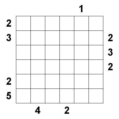 Number Logic Puzzles: 20226 - Skyscraper size 6