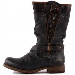 Mustang 1139-609-20 Womens Biker Boots in Dark Grey