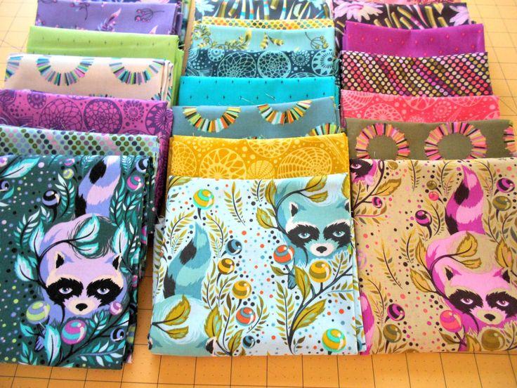 Complete~FAT QUARTER~SET~Tula Pink~ACACIA~Quilt~Fabric~Craft~Bird~Raccoon~Animal #Lecien