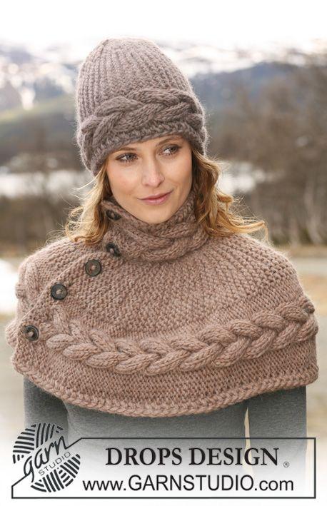 Conjunto DROPS : gorro e capa para ombros tricotada no sentido do comprimento, com tranças e em ponto jarreteira em « Eskimo ». ~ DROPS Desi...