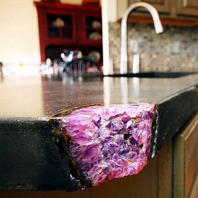 I've been seeing this amethyst Crystal corner countertop everywhere lately and…