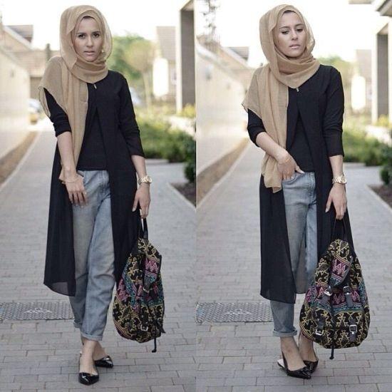 black long cardigan hijab look