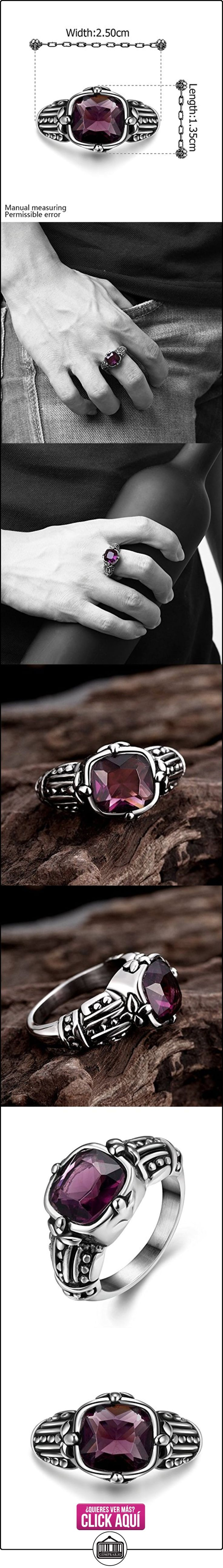 Lureme® acero inoxidable de la vendimia antigua maya motorista retro estilo gótico punk con piedra púrpura plata anillo ancho de banda negro para los hombres (04001228)  ✿ Joyas para mujer - Las mejores ofertas ✿ ▬► Ver oferta: http://comprar.io/goto/B016EZBTR2