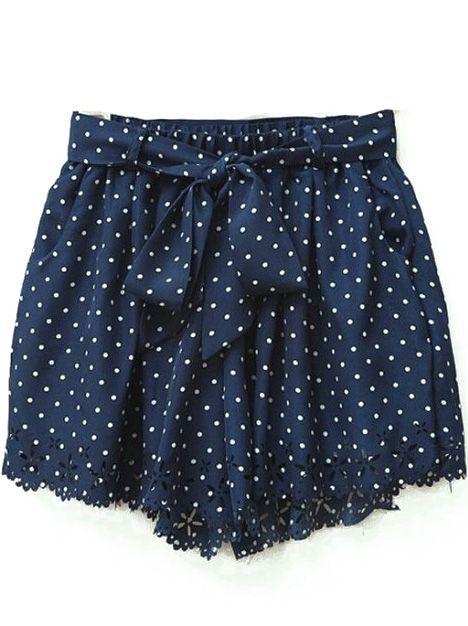 Navy Polka Dot Print Cut Out Hem Chiffon Shorts - Sheinside.com