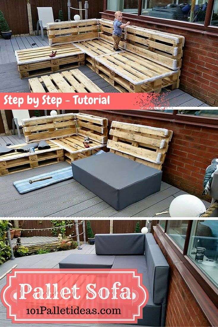 Diy comfortable pallet adirondack chair 101 pallets - Bring The Pallets In Home For A Rustic Vibe Otherwise Make Them Painted Or Upholstered Just Like In This Case Of This Diy Sectional Pallet Sofa For A Modern