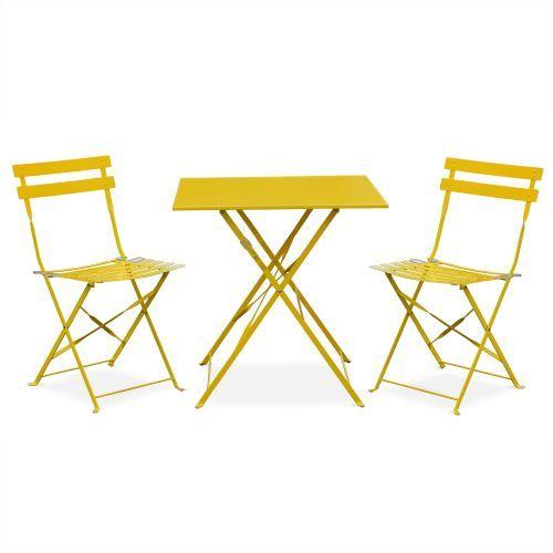 Bistro tuin set, 1 vierkante tafel en 2 vouwbare stoelen