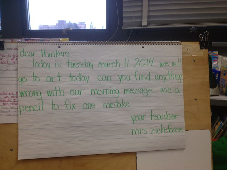 A first grade teacher uses the Morning Message to review editing skills.