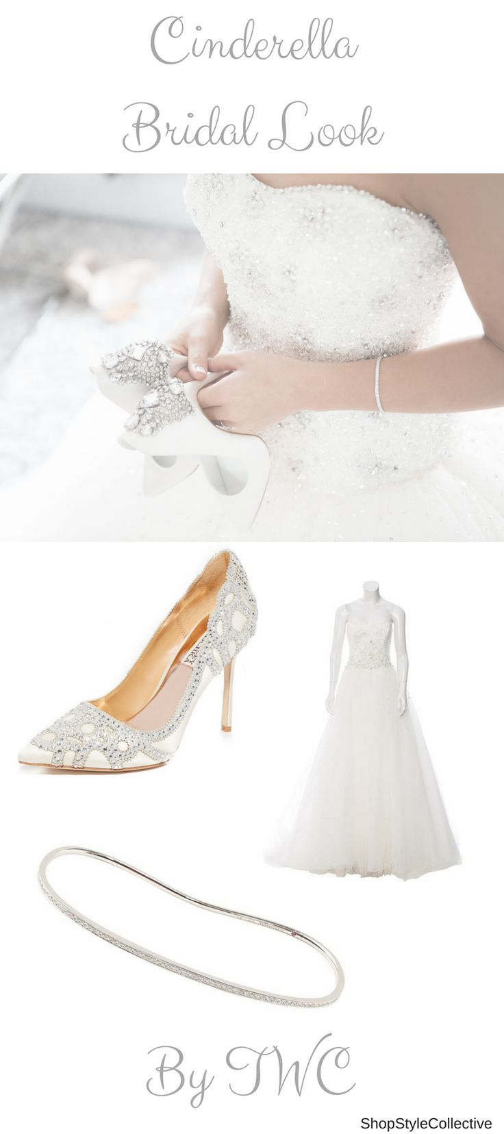 A Cinderella bridal look is one of our most favorites! The embellished corset with a tulle skirt, super gorgeous diamante wedding shoes and a diamond bracelet to round everything off. This great dress suits all brides' body types and shapes and will make you feel like the princess you are!