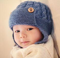 gorro aviador  lana  baby boutique - tejidos bebe niños