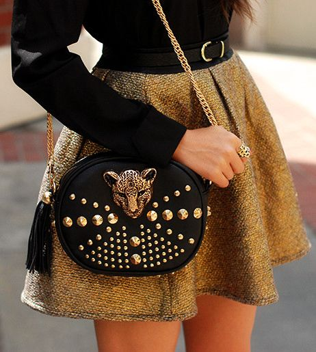 Leopard Studded Bag and gold full mini skirt (great fall street style) - love!