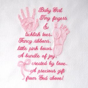 BABY GIRL PRINTS & POEM 5X7-baby embroidery designs, baby footprints realistic embroidery designs, baby handprints realistic embroidery desi...