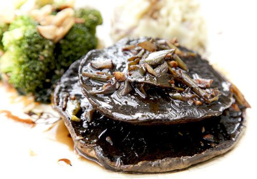 Balsamic Mushroom Steaks w/ Mash & Greens