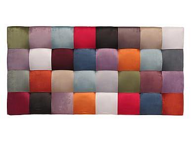 Testiera letto in velluto di poliestere Patchwork Quadrati, 160x80x10 cm