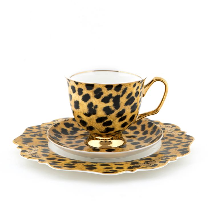 #Leopard #XL #Teacup and #Saucer #Set and #Flamingo #Sideplate | The #bigger teacup you have always wanted! Get yours today at #lyndalt.com 13d