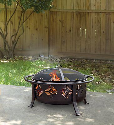 This large 30-inch round bowl, 12-inch deep Sunderland fire pit is ideal for a robust backyard fire. In addition to adding decorative flare to your fire pit, the stamped design on the sides of the bowl will help increase air flow, keeping your fire roaring longer. The large outer handle makes it easier to maneuver your pit throughout an outdoor space, and the mesh cover helps to protect you and your guests from escaping sparks. While entertaining, or simply just to enjoy your outdoor living…