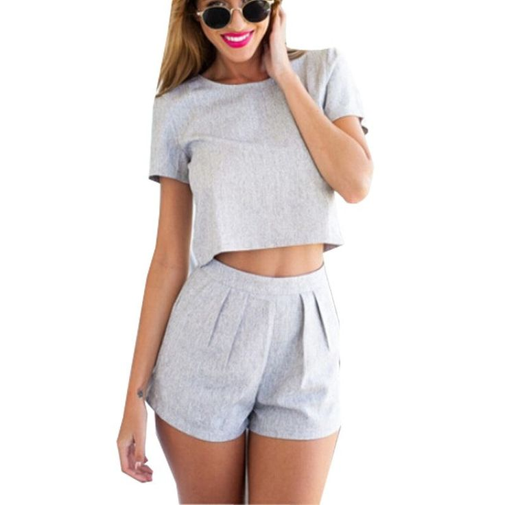 Casual Playsuits Jumpsuit Crop Top Plus Piece Outfits Size Women Two Short Sleeve Gray Shorts