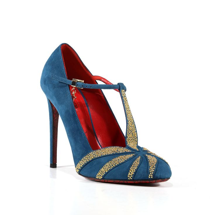 Cesare Paciotti Womens Shoes Vit Cam Petrolio Suede Blue Pumps (CPW3021) Material: Suede Hardware: Gold Color: Blue    Comes with original box and dustbag. Made in Italy. PI631210B-PETROLIO