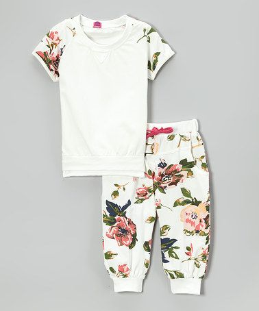 Loving this White Floral Raglan Tee & Cuffed Pants - Toddler & Girls on #zulily! #zulilyfinds