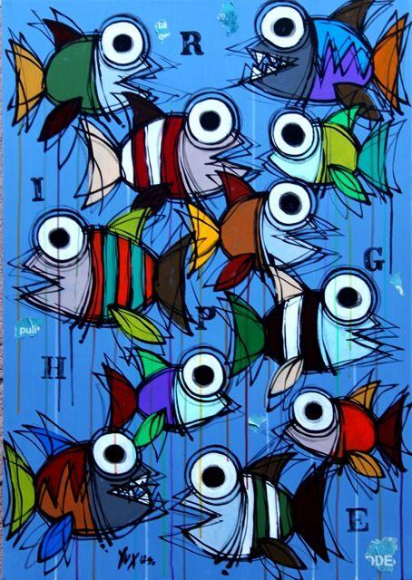 Righe Di Pesci http://www.pisacanearte.it/index.php/artisti/y/yux/yux-righe-di-pesci-acrilico-pastelli-a-cera-e-manifesti-su-tela-80x100-cm.html