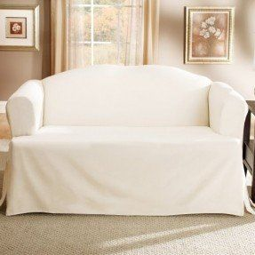 this sure fit solid duck cloth tcushion loveseat slipcover features a onepiece design for loveseats with tcushions and a durable cotton