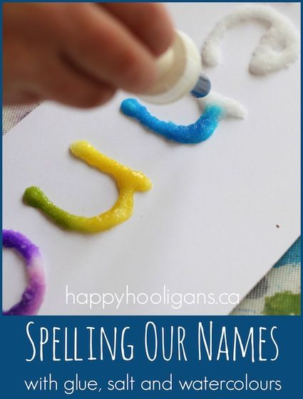 Salt, glue, and watercolor art! - name recognition activity for #children (pinned by Super Simple Songs: http://www.pinterest.com/simplesongs/) #educational #resources