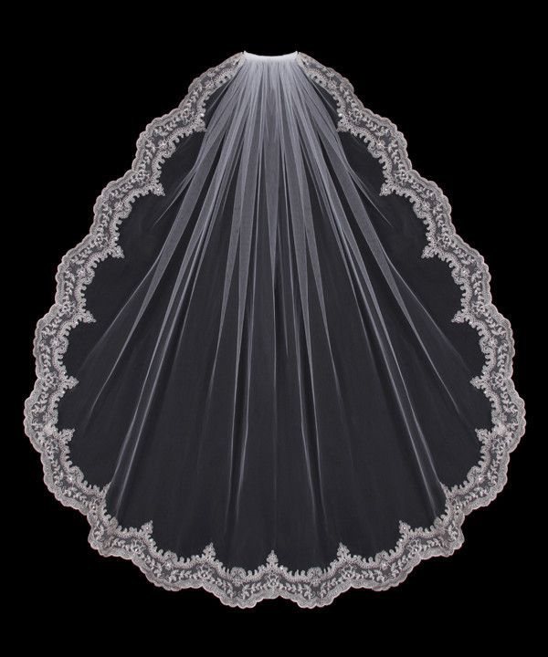 Wide Silver Embroidered Edge Bridal Veil