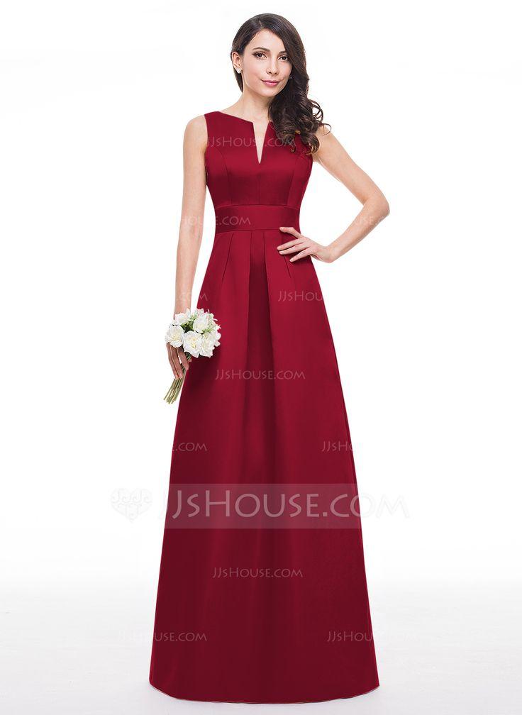 A-Line/Princess V-neck Floor-Length Satin Bridesmaid Dress ...