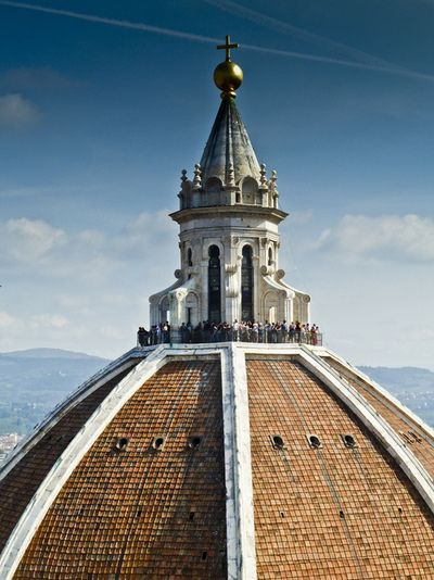 Brunelleschi also designed the lantern on top of the dome in Florence, begun in the year of his death, 1446 and completed by his friend ~Michelozzo in 1461.