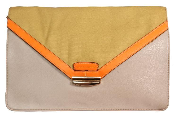 David Jones Clutch Bag Beige / Yellow / Orange