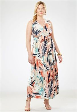 e873d44a069 Plus Size Travel Knit V-Neck Maxi Dress