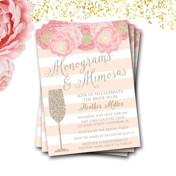 Monograms And Mimosas Bridal Shower Invitation by CarouselDesignCo