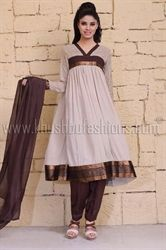 Picture of Beige and Brown Shalwar Kameez