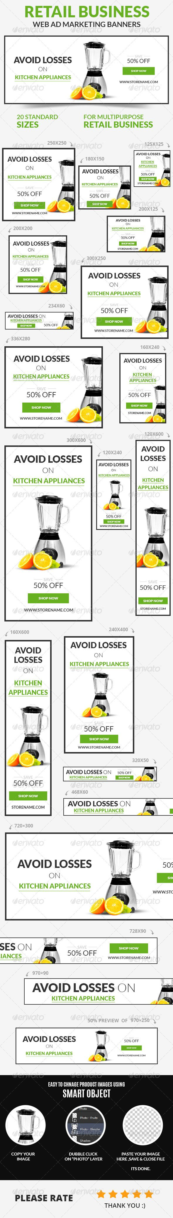 Retail Business Web Ad Marketing Banners Template PSD | Buy and Download: http://graphicriver.net/item/retail-business-web-ad-marketing-banners/7401293?WT.ac=category_thumb&WT.z_author=webduck&ref=ksioks