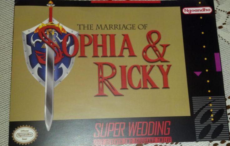 Cute Zelda (Super Nintendo) themed wedding invites.