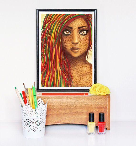 No Woman No Cry (Bob Marley) Reggae Lyrics Poster, Song Illustration, Music Art Print, Typography Poster, Hand Lettering Print