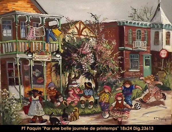 Original oil painting on canvas by Pauline Thibodeau Paquin #paulinepaquin #art #artist #canadianartist #quebecartist #children #streetscene #originalpainting #oil #balcondart #multiartltee